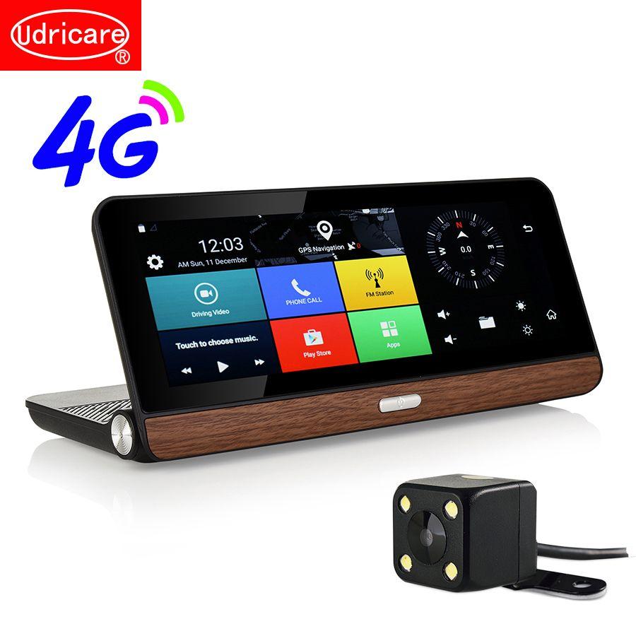 Udricare 8 inch 4G SIM Card GPS Android 5.1 WiFi Bluetooth Phone Call 4G Dashboard GPS HD 1080P Dual Lens Rear View Camera DVR
