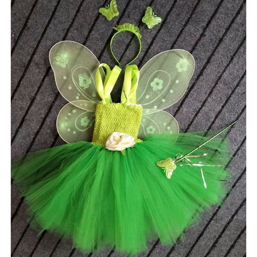 Tinkerbell Girl Magic Fairy Birthday Party Dress Child Princess Pixie Cosplay Tutu Dresses With Wing Halloween Custom For Gilrs