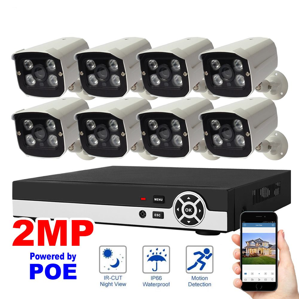 8CH 1080P POE NVR Kit Network Security System Video Record H.264 P2P Cloud Motion Detection HDMI Home Surveillance IP Camera Set