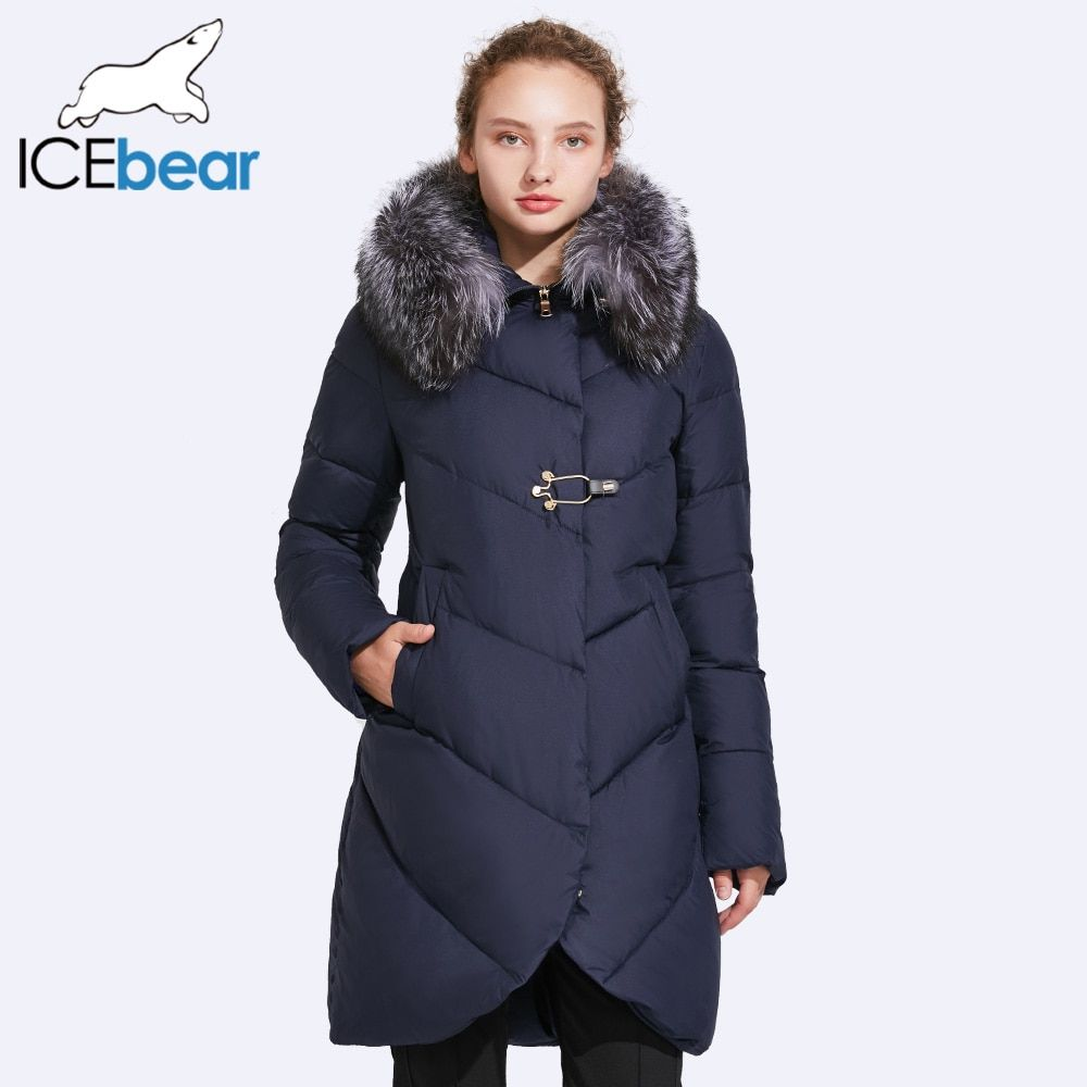 ICEbear 2017 Smooth Fur Collar Winter Jacket Women Placket Decorative Buckles And Zipper Double Layer Windproof Coat 17G6529