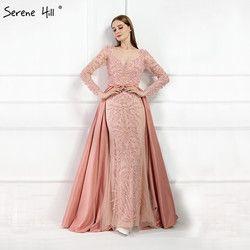 Luxus Rosa Meerjungfrau Abendkleider Emeradald Grün Zug Lange Ärmel Perlen Kristall Abendkleid 2019 LA6172