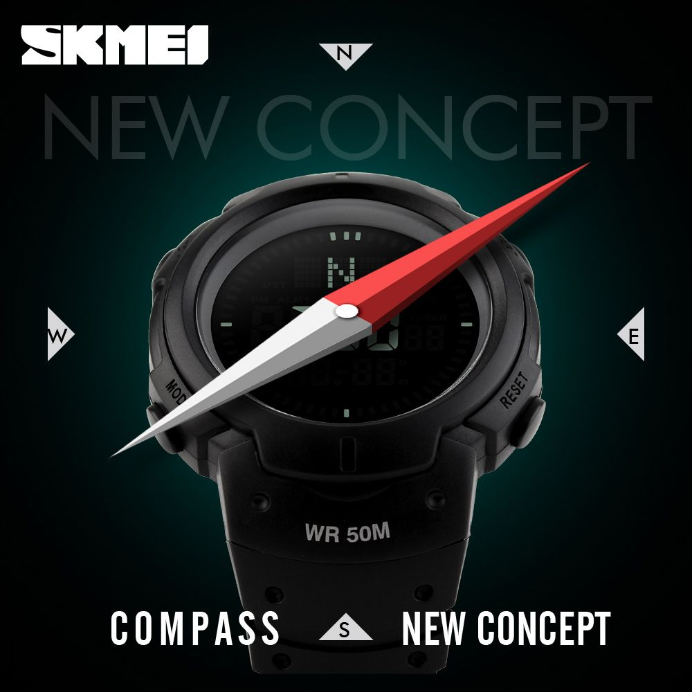 2017 SKMEI Brand Compass Watches 5ATM Water Proof Digital <font><b>Outdoor</b></font> Sports Watch Men's Watch EL Backlight Countdown Wrist Watches