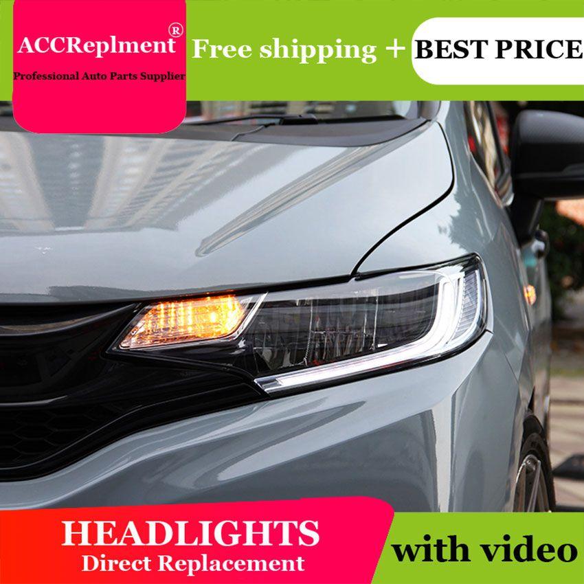 Auto Beleuchtung Stil LED Kopf Lampe für honda fit led scheinwerfer 2015-2019 signal angel eye drl H7 hid bi-Xenon-Objektiv abblendlicht
