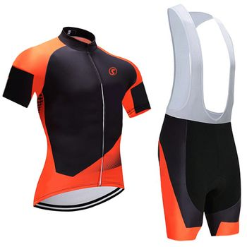 2018 Orange Pro cycling Jersey 9D gel pad vélo shorts set Ropa Ciclismo rapide sec Racing Team vélo Maillots Culotte