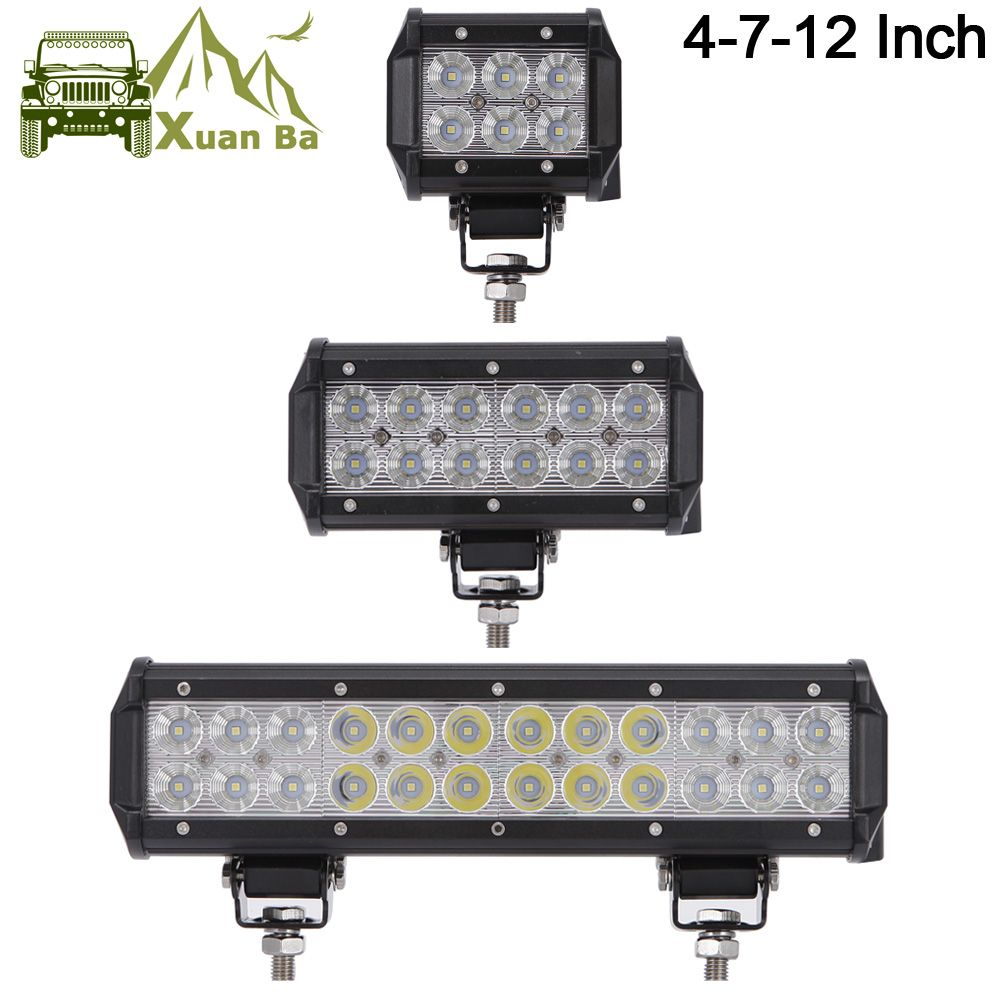 XuanBa 12 inch 72W Led Light Bar For ATV 4x4 Offroad 18W Work Trucks 4WD Auto DRL 12V Focos Off road Motorcycle 36W Barra Light