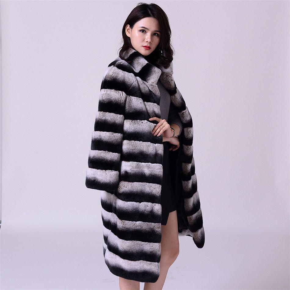 75cm Long Russian Sable Fur/Chinchilla Fur Coat/Grey Striped Outwear/Plus Size Custom Fur Coats Men Fur Coat Jacket