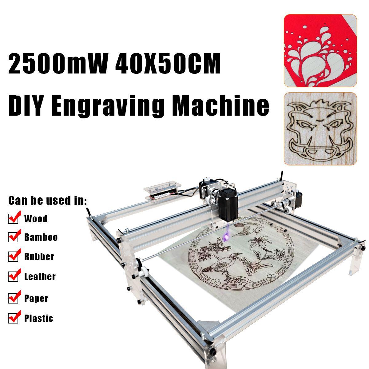 New 40X50CM DC 12V 2500mW DIY Desktop Mini Laser Cutting/Engraving Machine Printer Carving with Laser Goggles