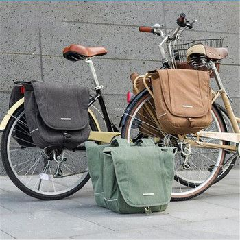 ROSWHEEL 20L Bicycle Bike Bag Retro Canvas Cycling MTB Bike Bag Pannier Rear Rack Seat Trunk Backpack Case Bike Accessories