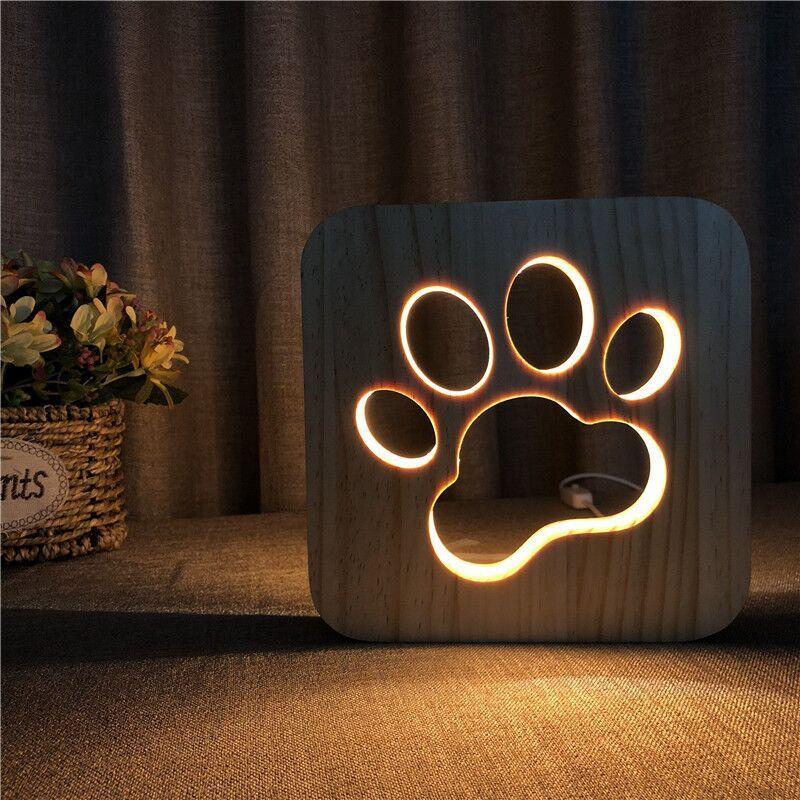 Chien en bois patte chat Animal veilleuse bouledogue français Luminaria 3D lampe USB alimenté lumières de bureau pour bébé noël nouvel an cadeau
