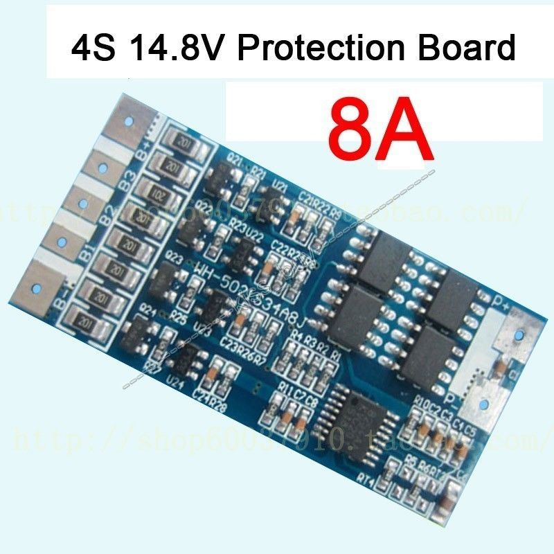 Free Tracking 4s cell 14.8V 8A w/Balance Li-ion Lithium 18650 Battery Charge BMS PCB Protection Board