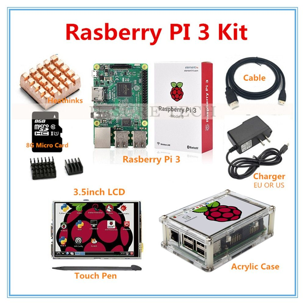 Raspberry Pi 3 Model B + 3.5 Inch LCD Touch Screen+ Raspberry Pi 3 Case+HDMI Cable+2.5A Power Supply+8GB SD Card for pi 3