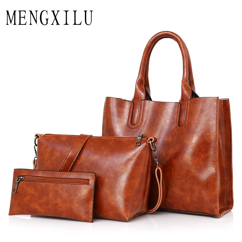 Women's Handbag High Quality Pu Leather Women Bags Handbags Women Famous Brands Big Casual Tote Bag Ladies Shoulder Bags 3 Set