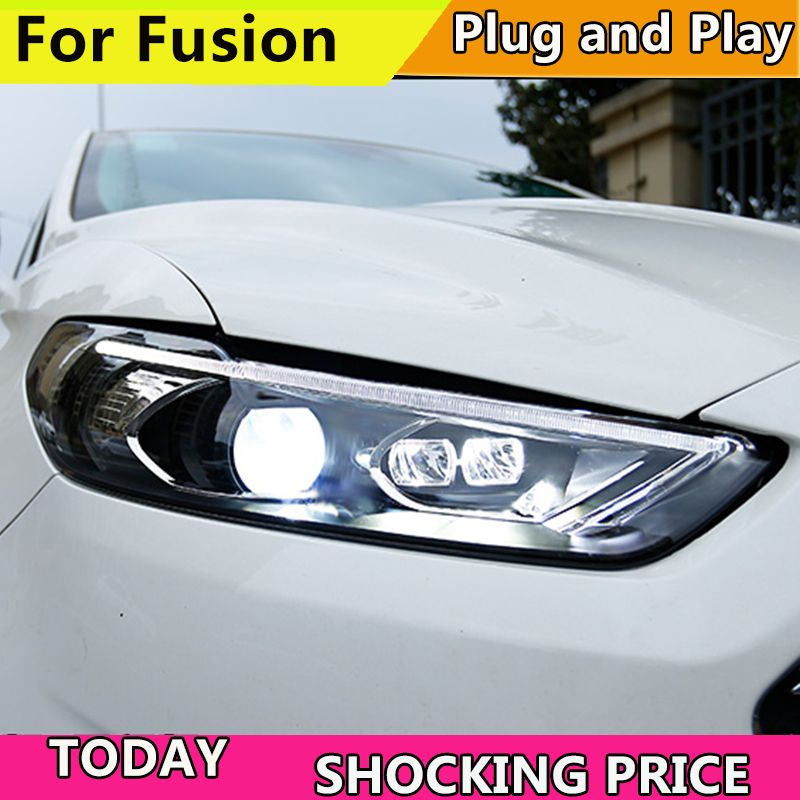Car styling for fusion headlight LED HID 2013-2015 LED headlights Head Lamp case for Ford mondeo Bi-Xenon mondeo Lens low beam