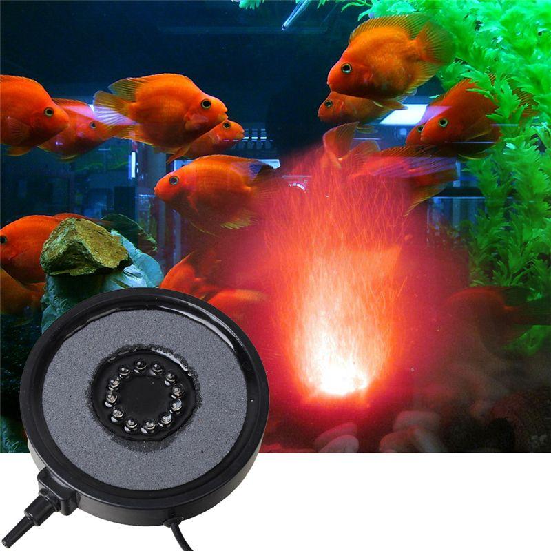 12 LED Air rideau pierre bulle disque et Aquarium lumière 1 W coloré bulle lampe Submersible lumière poisson réservoir aquatique accessoire