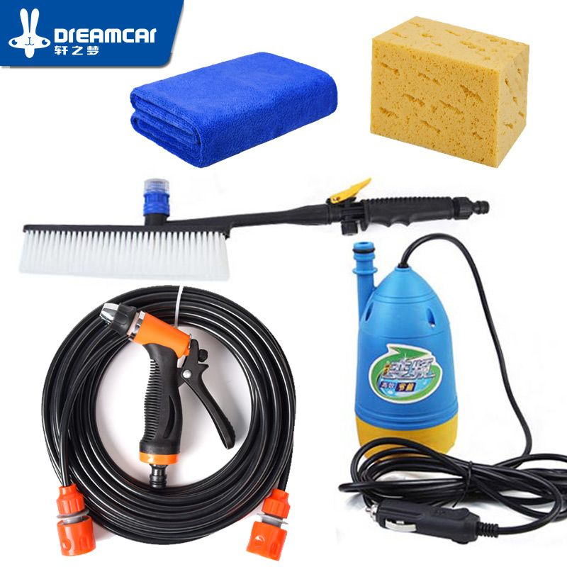 Free Shipping High Pressure 12v Washing Machine Car Portable Car Wash Device 220v Household Washing <font><b>Pump</b></font> Car Tools Water Gun