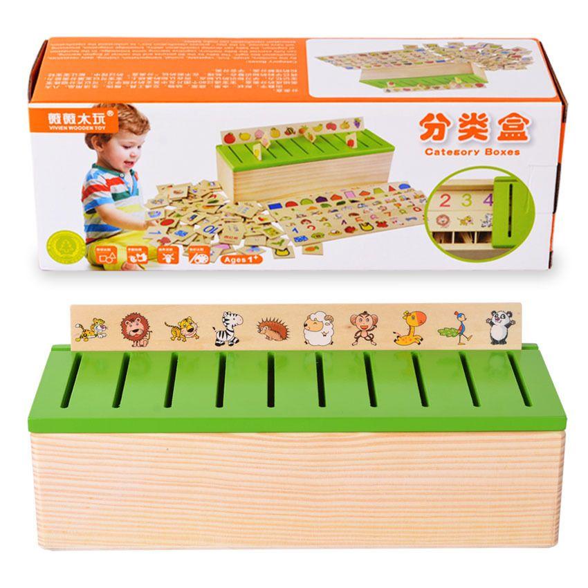 Montessori en bois créature blocs début de l'éducation série Domino jouet pour enfants Intelligence apprentissage bloc Brinquedos WJ863