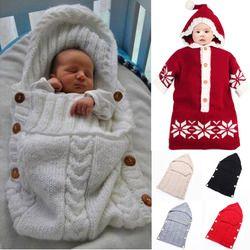 Bayi Membedung Wrap Hangat Wol Crochet Rajutan Bayi Bayi Kantong Tidur Bayi Swaddling Selimut Tidur Tas Selimut Bayi Baru Lahir
