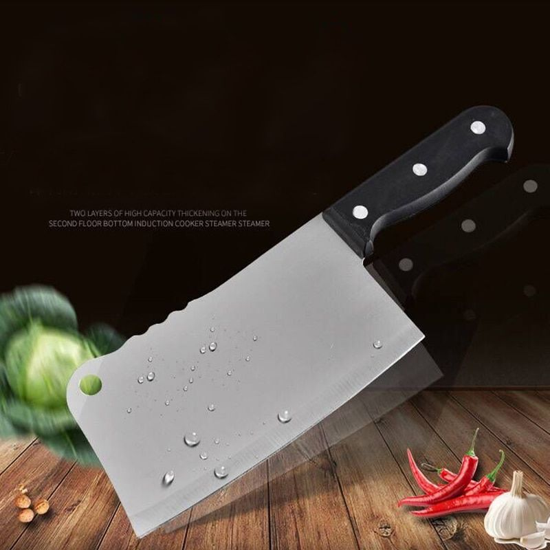 High Quality 7inch Stainless Steel Knife Heavy Duty Meat Bone Chinese Cleaver Kitchen Knife for Chopping and Dicing