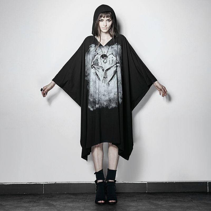 PUNK Black Bone Ghost Film Printing Loose Bat Sleeve T-shirt With Cape for Women