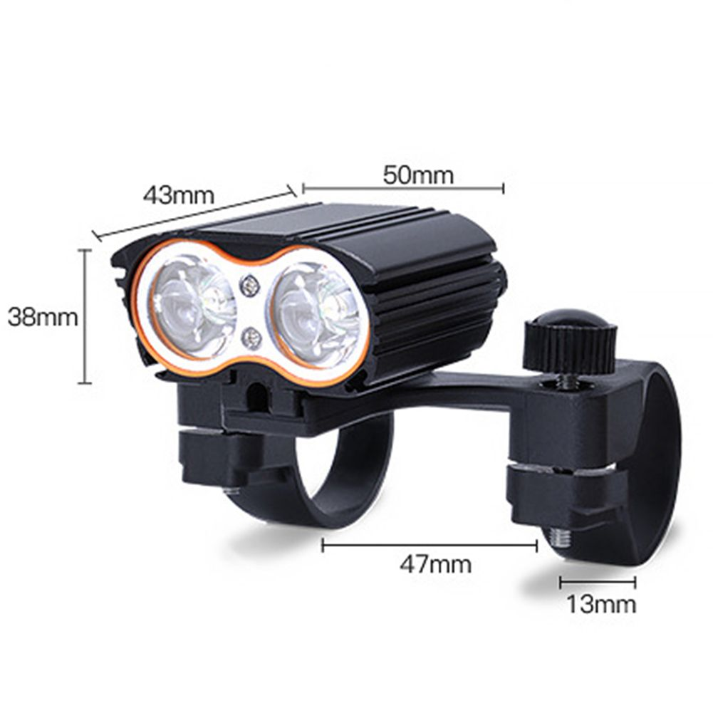 2400LM 2x XML-T6 LED Bicycle Head Light Road Mountain Bike Head Front Lamp Waterproof USB Rechargeable Cycling Wide Floodlight