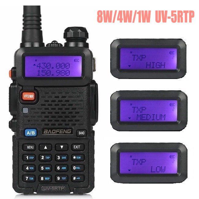 Baofeng UV-5R TP 8 W Haute Puissance VHF/UHF 136-174/400-520 MHz Double Bande FM Vrai deux-way Ham Radio Talkie Walkie/Écouteur UV-5RTP