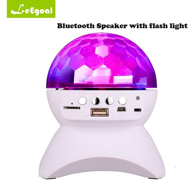 Disco DJ Party Bluetooth Speaker Built-In Light Show <font><b>Stage</b></font> Effect Lighting RGB Color Changing LED Crystal Ball Support TF AUX FM