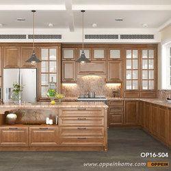Современный Сельский красный дуб Кухня кабинет Кухня Мебель op16-s04
