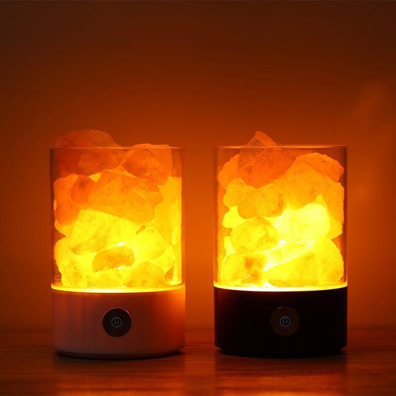 USB Кристалл соль ночник гималайский кристалл рок-соляная лампа Воздухоочистители ночник