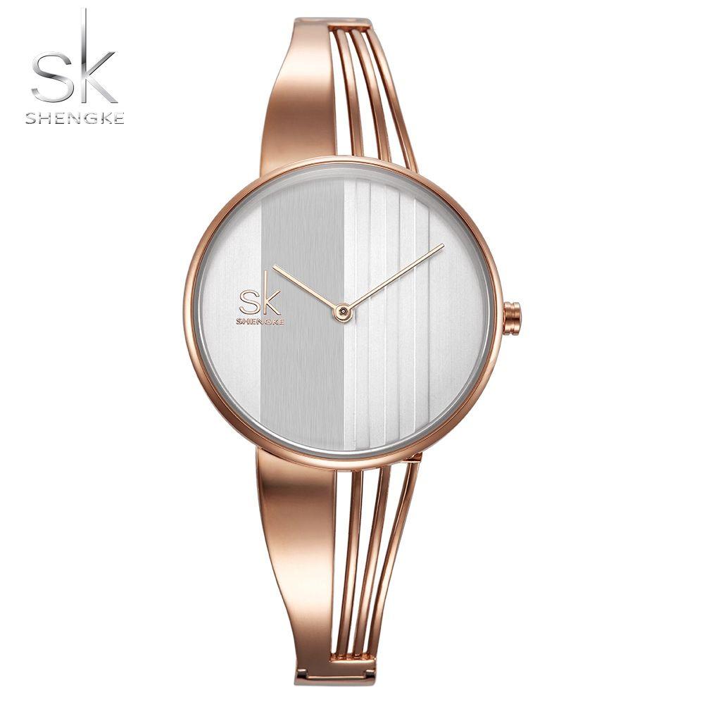 Shengke Fashion Gold-plated Women Watches Charm Ladies Wristwatch Bracelet Quartz Watch Women <font><b>Montre</b></font> Femme Relogio Feminino