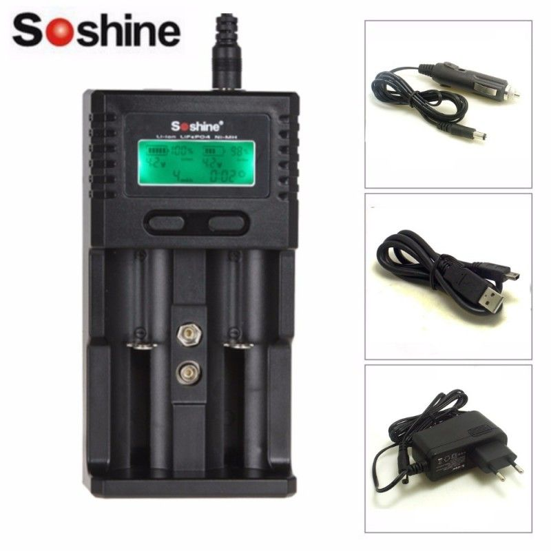 Soshine H2 SC-H2 Intelligent Charger LCD Universal Charger for Li-ion/LiFePO4 26650 18650 NiMH C AA AAA