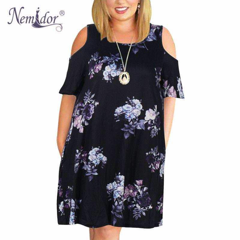 Nemidor Women Casual O-neck Off The Shoulder Midi Plus Size Summer Dress Short Sleeve Loose Vintage Dress With Pockets