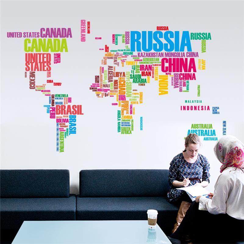 Multicolore Mots Anglais Lettres Carte Du Monde Stickers Muraux Bureau Salon Décoration Maison Autocollant Cartes Mondiales Murale Art Affiches