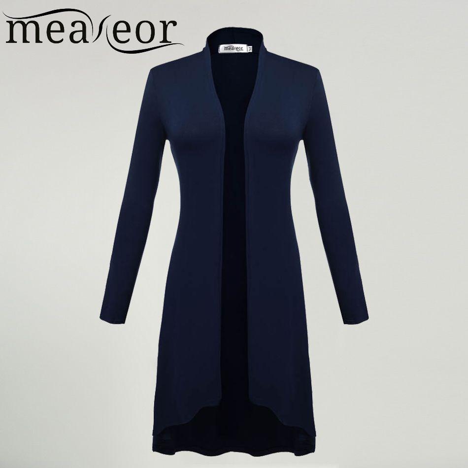Meaneor Cardigans Women Ms Windbreaker 2018 Autumn Summer Long Sleeve Cardigan Long Joker Plus size 3XL Sweaters Coat <font><b>Outwear</b></font>