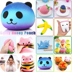 Anti-stres Lucu Pesona Licin Lambat Unicorn Meningkatnya Squishes Galaxy Panda Peach Squishi Pisang Poo Gigi Kue Cream PU mainan Kawaii