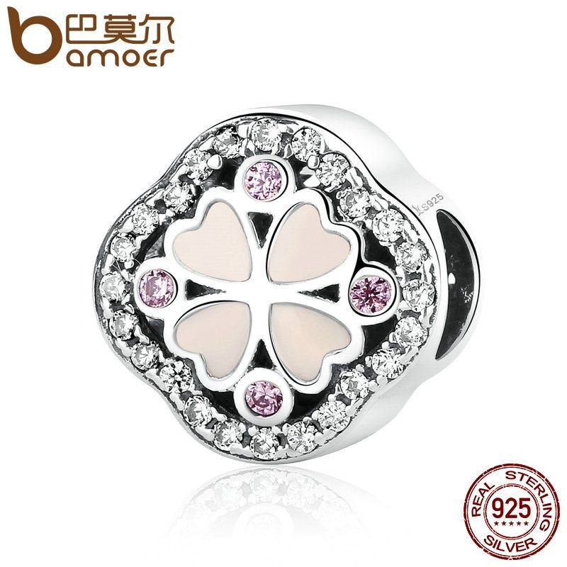 BAMOER Hot Sale Pure 925 Sterling Silver Pink Crystals Heart Clover Beads Charms fit Women Bracelets Jewelry SCC056
