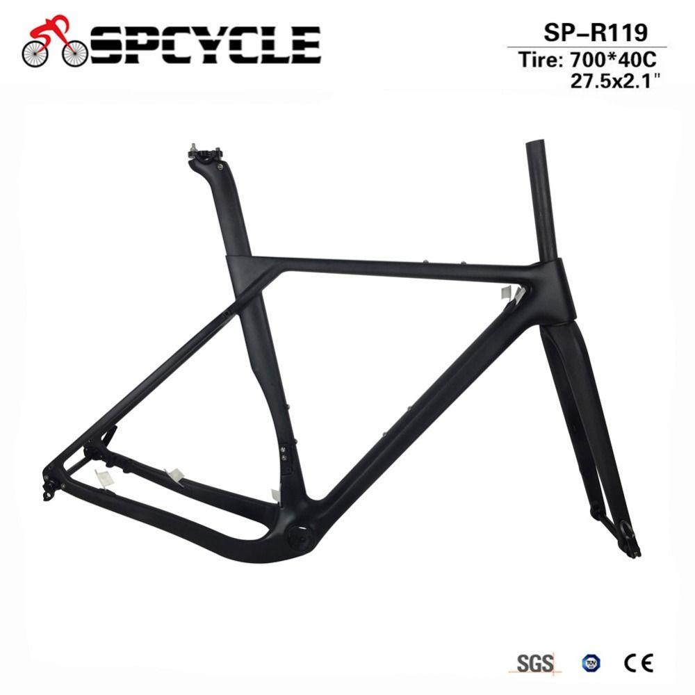 Spcycle 2018 New Model Carbon Road MTB Gravel Bike Frame Full Carbon Gravel Bicycle Frame Cyclocross Disc Road Bike Frameset
