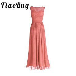TiaoBug Coral Apricot Women Ladies Chiffon Lace Bridesmaid Dress Long Prom Gown Plus Size Floor Length Party Bridesmaid Dresses