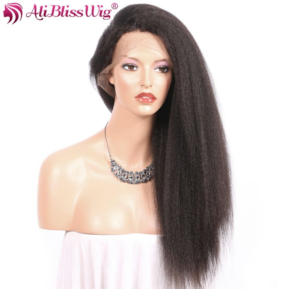 AliBlissWig Human Hair Wigs With Baby Hair 360 Lace Frontal Wig Kinky Straight Brazilian Remy Lightly Bleached knots 150%