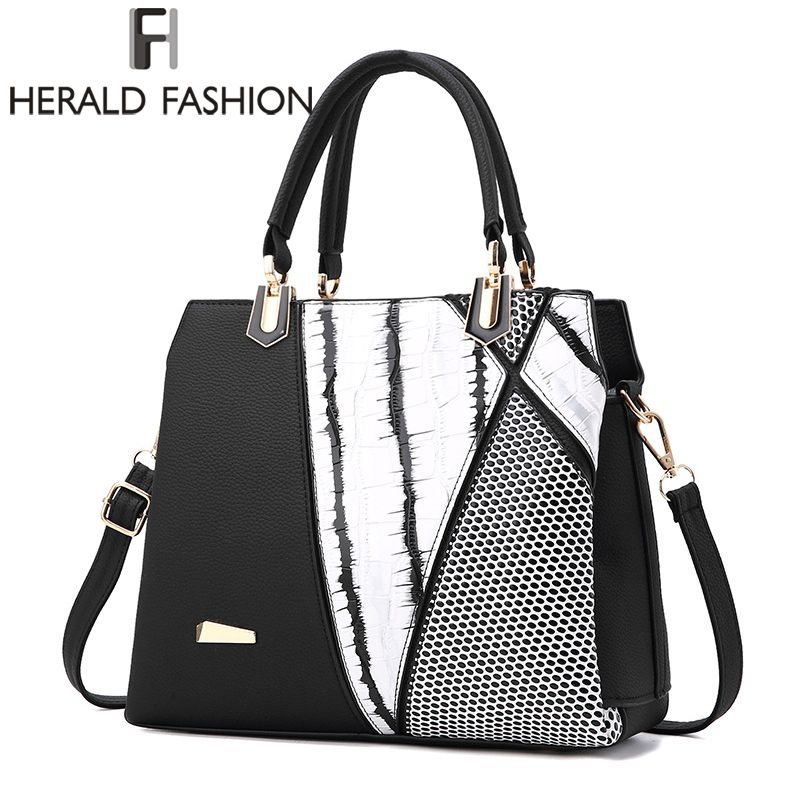 Herald Fasion Women Brand New Design Handbag Black And White Stripe Tote Bag Female Shoulder Bags High Quality PU Leather Purse