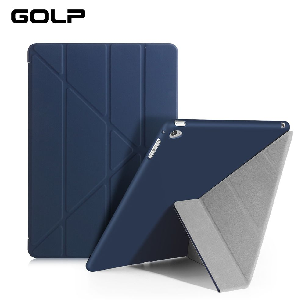 For iPad Air 2 Case , GOLP Ultra Slim PU leather Cover For ipad Air 2 with Transparent PC Back Case for iPad 6 Flip Stand