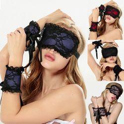 Erwachsene geschlechtsprodukte 2018 Neue frauen Sexy Lingerie Heißen Schwarzer Spitze spitze-eye Covers mit 1 para Handschuhe Hand Wrap Sex Spielzeug Kostüme