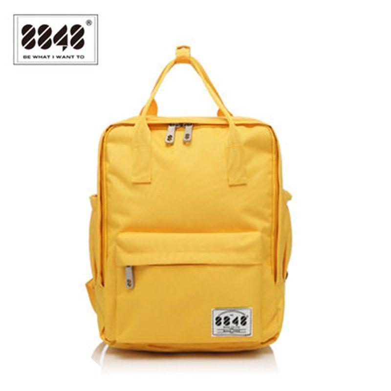 8848 Brand 100% Polyester Yellow School Bag Backpacks For Teenage Girls Small Knapsack Mochila Escolar Lona Infantil S15008-2