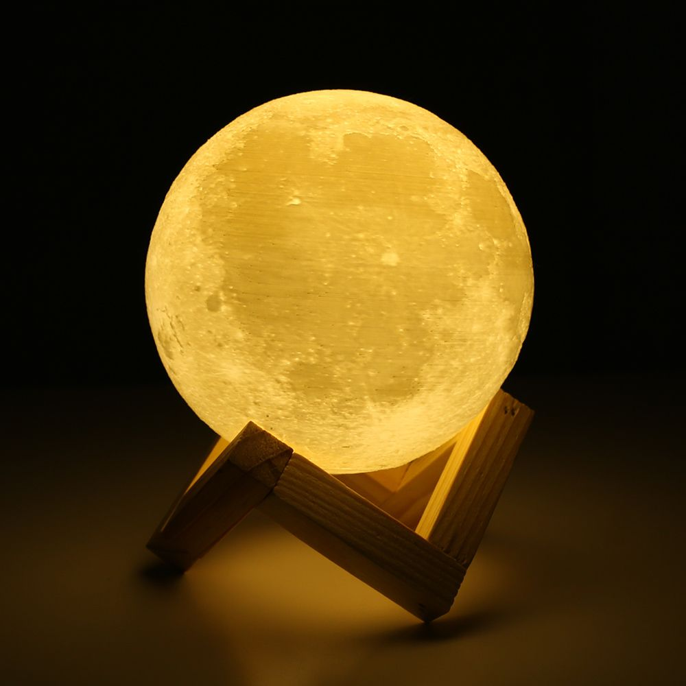 Rechargeable 3D Lights Print Moon Lamp 2 <font><b>Color</b></font> Change Touch Switch Moon Light Bedroom Led Night Light Home Decor Creative Gift