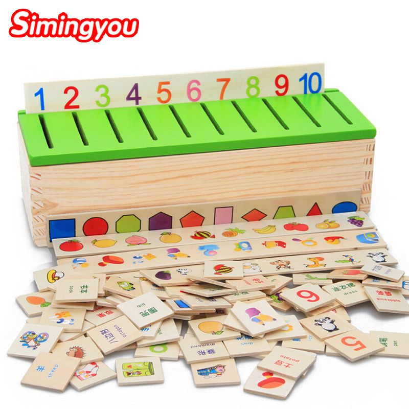 Simingyou Montessori Puzzle Learning Toys Knowledge Classification Box Wooden Toys Educational Number And Animal Drop Shipping