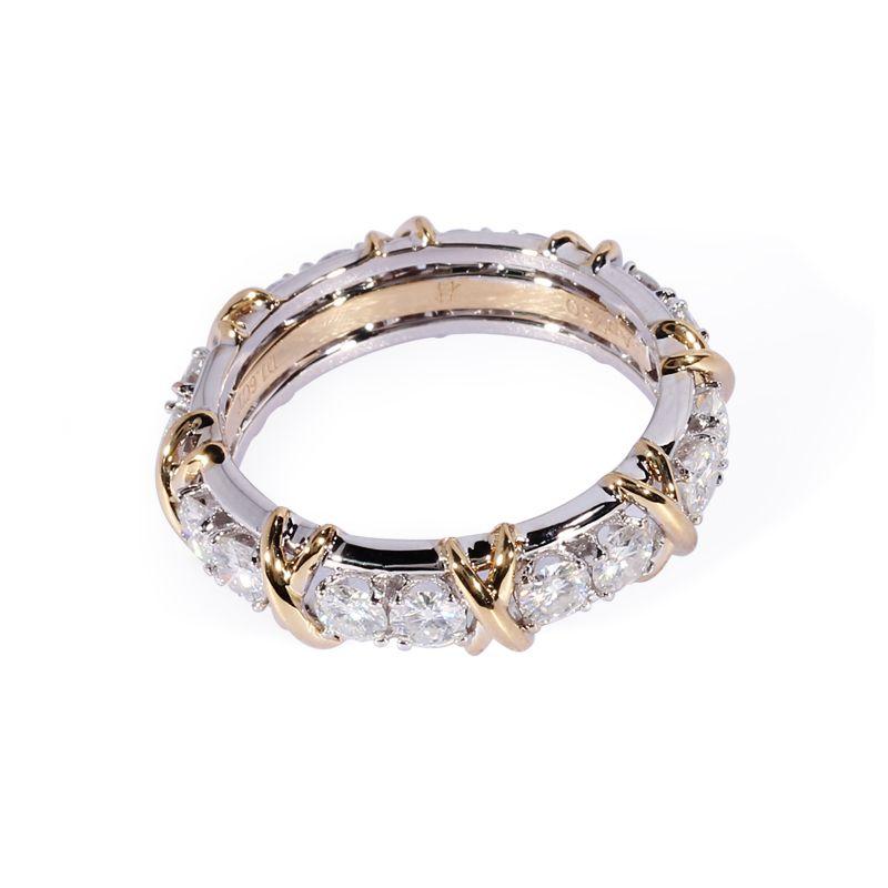 TransGems 1,6 CTW Carat Lab Grown Moissanite Diamant Ewigkeit Band Solide 14 karat Gelb und Weiß Gold Engagement Jahrestag Ring