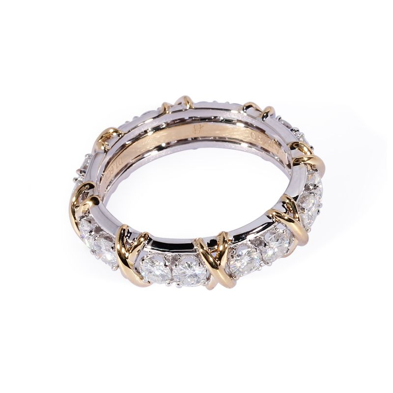 TransGems 1.6 CTW Carat Lab Grown Moissanite Diamond Eternity Band Solid 14K Yellow and White Gold Engagement Anniversary Ring