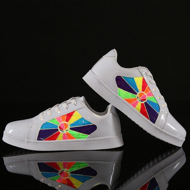 2018 New 11 Colors Flashing Luminous Fiber Optic Fabric Shoes with Light USB Recharge Light Up Shoes Women Girl Boy Sneaker