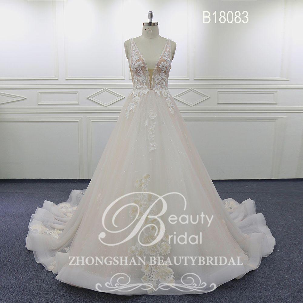 Beautybridal Elegante Blumen Spitze Hochzeit Kleid Sleeveless V-ausschnitt Brautkleid Gericht zug Vestido de noiva Braut kleider B18083