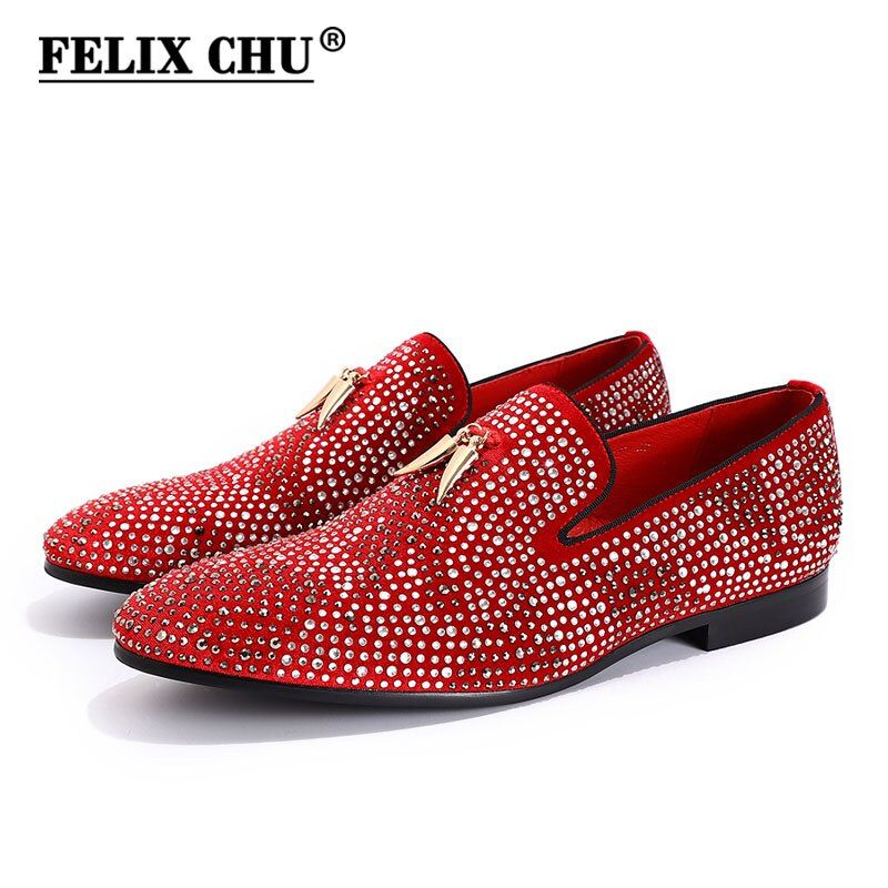 Luxury Rhinestone Handmade Men Red Black Velvet Loafers With Golden Tassel Wedding Party Dress Shoes Male Moccasins Men's Flats