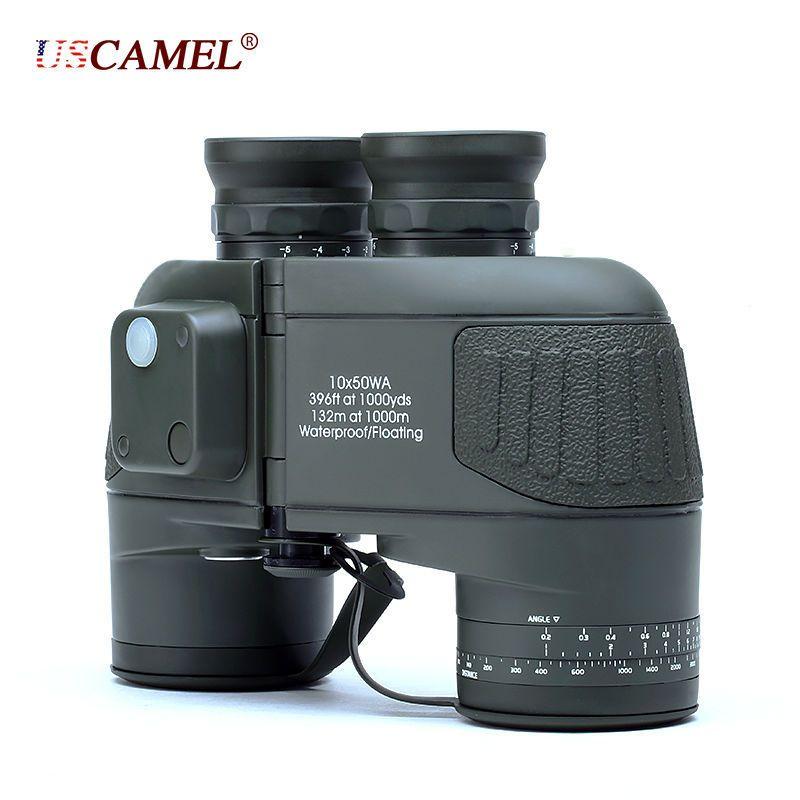Militaire 10x50 HD Marine Jumelles Zoom Télémètre Boussole Télescope Oculaire Étanche D'azote Vert Armée USCAMEL